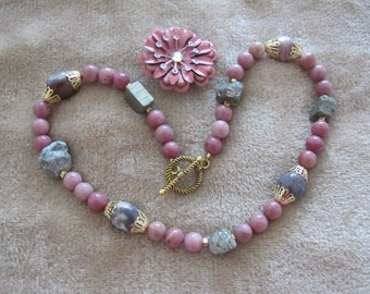 "Panning 4 Gold - Natural Gold Pyrite Nuggests with Porcelain Jasper, Pink Rhodonite and GT End Caps and Spacers 17"" Necklace"