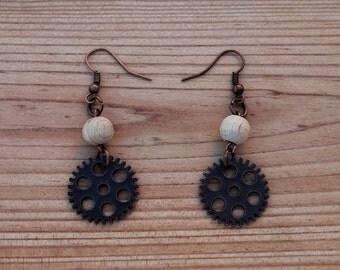 copper earrings, copper tone gear earrings with wooden beads, nickel free earrings