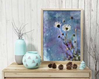 Cobalt blue wall art Daisy picture like painting Printable photography Wild flowers photo Downloadable Instant download Digital print 8x10