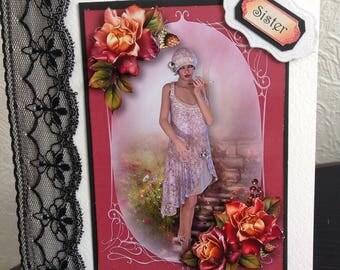 Sister Art Deco Birthday Card, Decoupage flowers