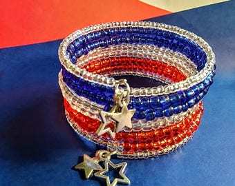 Stars and Stripes Red White and Blue Memory Wire Bracelet