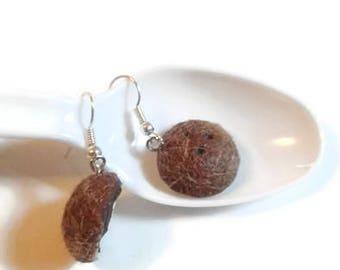 coconut earrings,  Miniature food jewelry, coconut jewelry, kawaii coconut, kawaii food jewelry, kawaii food earrings, foodie gifts,