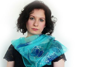 Elegant silk scarf, transparent, dressy scarf, wedding, occasion, écharpe légère, summer scarf, écharpe en soie, chic, habillé, wrap, gift