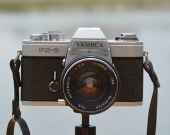 Vintage Yashica FX-2 35mm Film SLR Camera w/ 28mm f/2.8 prime lens
