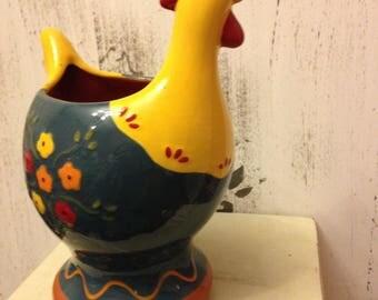 Ceramic Hen/Chicken utensil holder/ vase/ planter