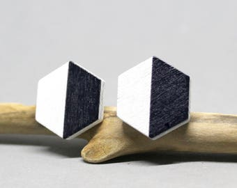 Wooden Earring Studs Hexagon Geometric Black & White 14mm
