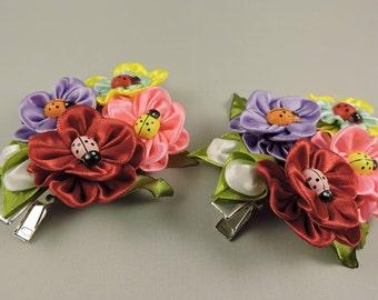 Kanzashi hair clip. Set of 2 hair clips. Free shipping