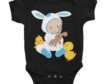 Baby Boy 'Easter Bunny with Chicks' One Piece Undershirt/Infant Bodysuit