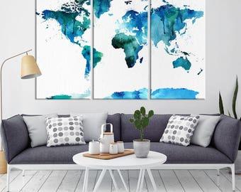 Large Wall Art World Map Canvas Print, Navy Blue Watercolor World Map Travel Canvas Print, Modern XXL Large Wall Art World Map Canvas Print