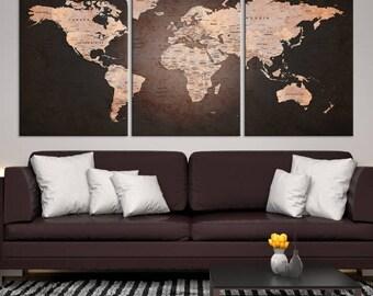 World Map Canvas Print, World Map Push Pin Canvas Print, Large Wall Art World Map Push Pin Canvas,