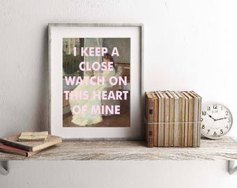 Johnny Cash Lyrics Poster, music poster, wall art, fine art, song lyrics, Folk, Country, Rock,  I Walk the Line,  8x10 print, Impressionism
