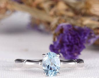 Oval Cut Engagement Ring Aquamarine Ring Birthstone Wedding Ring Bamboo Engraving Eternity Unique Band March Birthstone Anniversary Gift