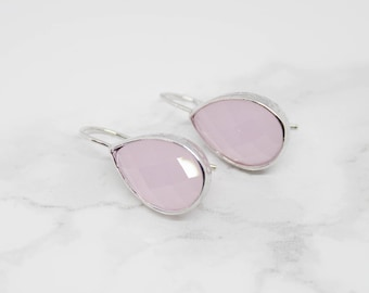 Drop pink shiny hammered Silver earrings