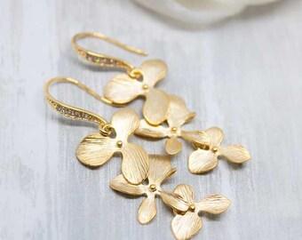 Earrings gilded flower orchid wedding Jewellery Bridal Jewellery (or-098)