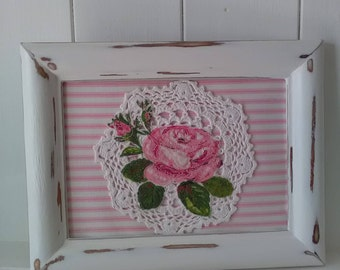 Rose fabric picture, pretty rose on vintage lace doily, chalk painted frame, handmade pretty pink rose picture on pink ticking stripe fabric