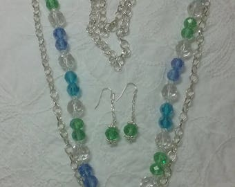 Say Thank you, Happy Birthday with a Layering look of beautiful blue, green and crystal glass beads!