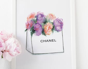 Chanel bag, Chanel, Chanel Print, Coco Chanel, Fashion Wall Art, Coco Chanel Poster, Chanel Art, Bathroom Vanity, Fashion Prints, Vanity