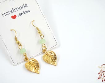 Gold leaf earrings | leaf earrings, autumn, bohemian, minimalist earrings, gift for her, dainty earrings, gift, boho, leaf, dainty delicate