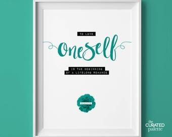Oscar Wilde Quote, Typography Print, To Love Oneself is the Beginning of a Lifelong Romance, Instant Download, Romantic Wall Decor Print
