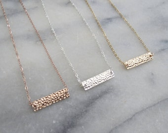 Hammered Metal Bar Necklace, Gold Plated, Silver Plated, Rose Gold, Bridesmaids Gift, minimalist necklace, Pendant Bar Necklace,