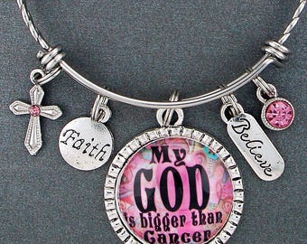 God Is Bigger Breast Cancer Awareness Encouragement Bangle Bracelet, Inspirational Christian Quote Gift, Pink Ribbon, Believe, Faith Hope