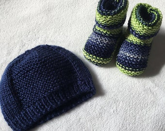 Set of booties and hat 0-6 months/Merino/Nylon/blue/green