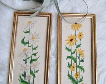 Pair of Vintage Daisy Cross-stitch Wall Decor Art