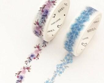 Floral Wreath Washi Tape - Blue / Purple (1 pc / 2 pcs) Japanese Stationery Flower Masking Tape Set Deco Tape