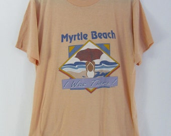 """Vintage 90s Myrtle Beach """"I was There"""" T shirt Size Large Made in USA Vacation Jerzees Thin Shirt"""
