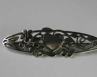 Vintage James Avery Hearts and Flowers Brooch. Sterling Silver - Retired Design