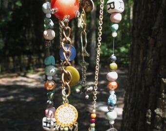 Shabby Chic Wind Chimes with Vintage Items (Potato Masher, Jewelry, Skeleton Key)