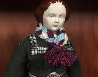 Reproduction 1860 Petersons  Ladies Knitted Scarf Doll size