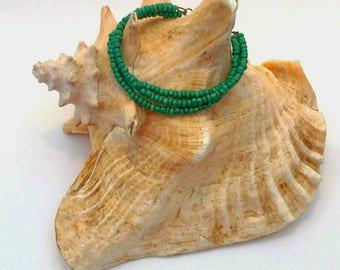 Three Strand Teal Beaded Bracelet