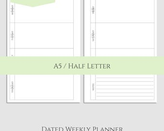 "2018 Dated Weekly Printable Planner Inserts, Horizontal WO2P Layout, w/ Notes Section ~ A5 / 5.5"" x 8.5"" Instant Download (WBN)"