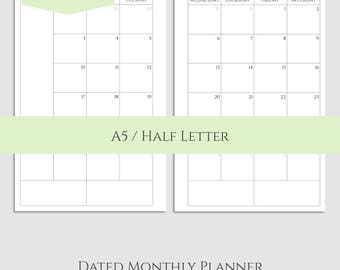 "2017 and 2018 Dated Monthly Printable Planner Inserts, MO2P Sunday-Saturday Monthly Calendar ~ A5 / 5.5"" x 8.5"" Instant Download (MSS)"