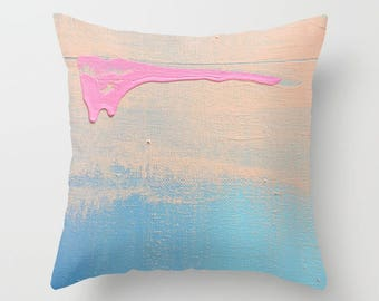 Throw Pillows Coral - FREE Shipping - Beach Blue Throw Pillows with coral