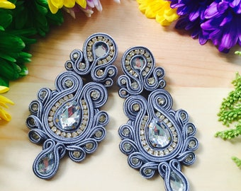 Soutache earrings/ Handmade earrings/ Boho chic earrings/ Soutache