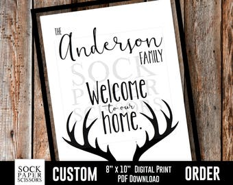 Custom Order, Welcome to Our Home, Family Name Sign, Deer Antlers, Wedding Anniversary House Warming, Father's Day, PDF Download, SKU-CHO103