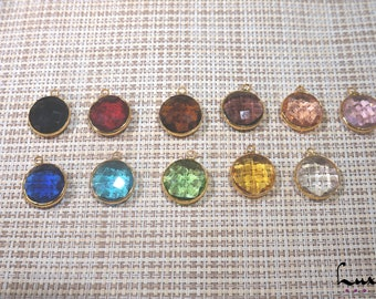 Glass gemstone pendant 16mm with Gold Plated Over Brass, Bezel Glass Gem, manufacture offers