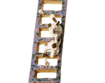 Tabby Cat | Wall Mounted Ceramic Art | Purple Ladder | Cat Lovers Gift | Quirky Ornament | Hand Made Ceramic Cat Figurine
