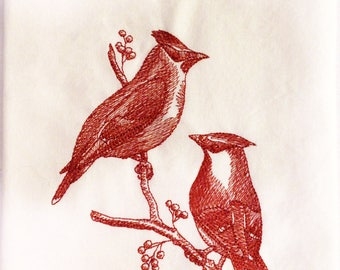 Kitchen Towel - Cedar Waxwings - Toile Tea Towel/ Embroidered Flour Sack Towel/ Hand Towel - Ready to ship- Housewarming gift- Under 15