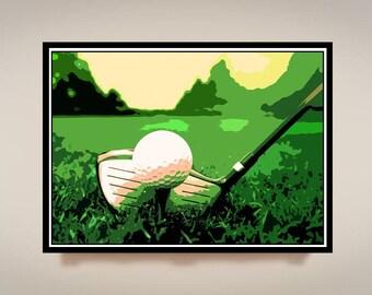 Golf Art, Print or Canvas, Golf Club Picture, Golfer Fan Gift, Cool Sports Wall Art, Golf Lover Decor, Augusta, Golf Ball & Tee, Grass