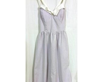 80s Purple White Pinstripe Sun Dress Cross Strap Back Sz 8 Medium Tea Length Easter Dress Pastel Daytime Spring Summer Fit Flare Bodice Bra