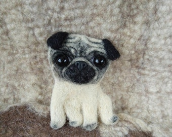 Cute Pug Dog Needle Felt Brooch Breed Pet Portrait Broach Animal Pin Adorable Puppy Pet Loss Pug Memorial Gift Mother Day Gift For Pug Mom
