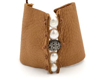 Deer skin leather diamond and pearl bracelet, rodeo jewelry, rodeo bracelet, southern bracelet