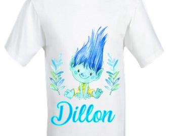 Boy's Trolls Babygrow,Branch Troll shirt,Boy's Trolls shirt.New baby gift,Personalised gift, Personalised Boys shirt.Toddlers shirt.