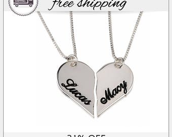 31% Off - Personalized Couples Breakable Heart Name Necklace, Heart Necklaces in Silver, Set For Couple, Love, BFF Necklace, Valentine's Day