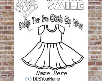 Cap Sleeve Dress Coloring Page, Design a dress, DotDotSmile, Marketing, Cute Design, Custom Design, Business, Stylish Design, Modern