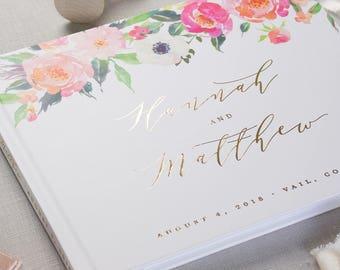 Floral Wedding Guestbook Gold Foil, Flower Wedding Guestbook Wedding, Modern Wedding Guest Book Wedding, Personalized Guestbook Wedding