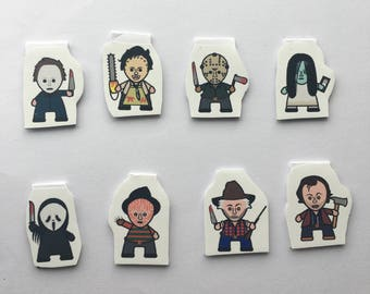Horror bookmarks / Magnetic bookmarks / Horror characters bookmarks / Gift idea / Bookish / Leatherface / The Shining / The Grudge
